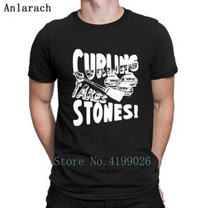 Curling Takes Stones Tshirts Slim Printed New Arrival Gents 2018 Men's Tshirt Interesting Round Neck Hiphop Top Anlarach