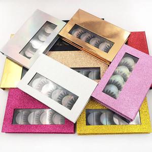 3D cils de vison naturels faux cils longue extension de cils faux faux cils oeil outil de maquillage avec boîte 5 paires / set rra1782
