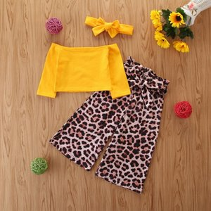 New Toddler Baby Kid Girl Off Shoulder Tops T-shirt Leopard Pants 3Pcs Outfit UK