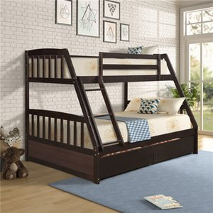 Solid Wood Twin Over Full Bunk Bed with Two Storage Drawers Espresso Modern Style In Stock Bed Fast Shipping