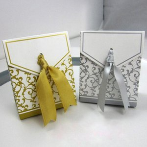 100 European style gift box candy wedding ribbon gold silver package high end atmosphere bow celebration