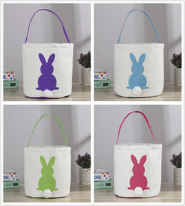 2019 New Easter Rabbit Basket Bunny Gift bag Cartoon Cute Canvas secchio Mettere le uova di Pasqua Iuta Coniglio Candy secchi secchiello DIY