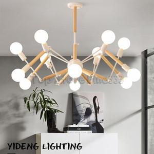 Nordic simple moderna sala de estar lámpara personalidad creativa original de madera sólida frijol mágico araña rama dormitorio macaron araña