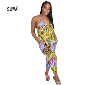 SUWA été multi d'impression couleur sarouel mollet Jumpsuit Vente chaude Femme O cou lâche Pocket Casual Barboteuses 4 Couleur total