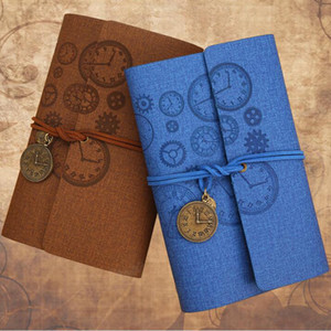2Pcs A6 Loose-Leaf Retro Strap Hand Book Notebook Artifical Leather Notepad,Small Zipper Pocket ~Blue &Coffee
