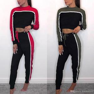 Survêtement Femmes Ensemble 2 pièces Simple rayé à manches longues Crop Top Slim Fit Pantalon jogging Taille asiatique
