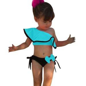 2020 heiße Verkaufs-Kinder Badeanzug ARLONEET Sommer-Kind-Baby-Solid Print Rüschen Bow Swimwear Badeanzug-Bikini-Outfits 5.10