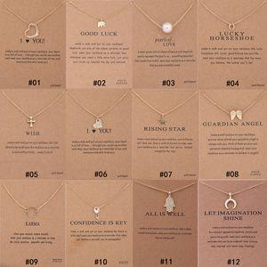 12 Stili Dogeared choker Collane Con carta Oro Cerchio Elefante Perla Amore Ali Croce Chiave Ciondolo Collana Per Monili delle donne di Modo K61
