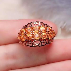Sarı Renk Garnet Yüzük Doğal gerçek Garnet halka 925 gümüş Güzel takı Parmak yüzük handworked