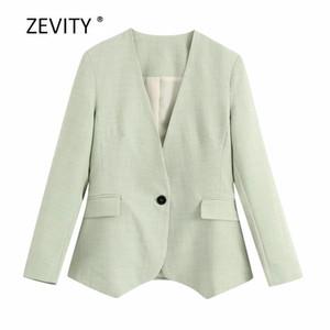 Zevity женщин элегантного v шея пледа бизнес блейзер офис дама одной пуговицы карманных костюмы причинные стильный устаревать пальто топов C516