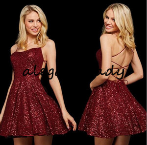 Little Black Dress Sparkly Sequins Burgundy Short Prom Homecoming Dresses Sexy Cross Straps A-line Junior Graduation Party Cocktail Gown
