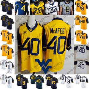 2020 Batı Virjinya Dağcılar # 40 Pat McAfee 70 Sam Huff 1 Shelton Gibson Tavon Austin 8 Karl Joseph NCAA Emekli WVU Futbol Jersey