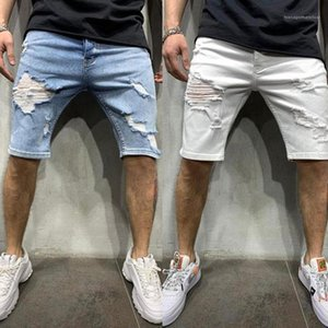 Jeans Summer Casual Solid Color Homme Clothing New Designers Hole Mens Knee Length Jeans Fashion Teenagers