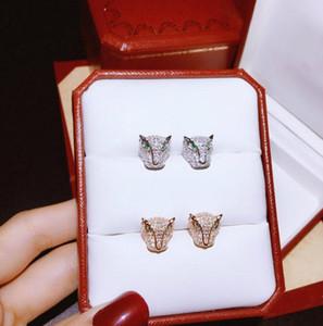 2 renk Düğün takı küpe Takı küpe Kadın Panthere DE C Serisi 925 gümüş Hayvan Leopar Başkanı Stud