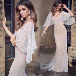 2020 Nouvelle Champagne sirène robes de mariée élégante pailletée Gaine col en V Backless Beace Bohème Robes de mariée Fait sur mesure