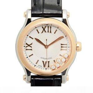 diseñador mira el reloj de los relojes de lujo Feliz Deportes movimiento de cuarzo serie del diamante de Montre de luxe dama relojes de la manera correa de cuero