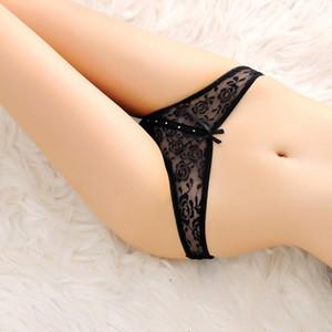 Sexy Diamant-Spitze-Schlüpfer Bowknot Frau Unterwäsche Briefs Transparent Bikni Knickers Zapfen G String t zurück Shorts Frauen Kleidung