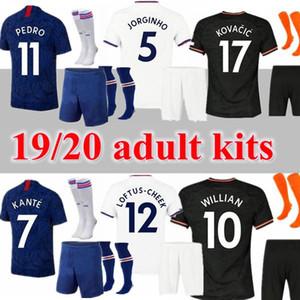 KITS ADULTES CHAUSSETTES 2019 2020 ABRAHAM MOUNT KANTE HUDSON ODOI chemises de football Jorginho CHRISTENSEN PEDRO 19 20 maillots de football PULISIC Rüdiger
