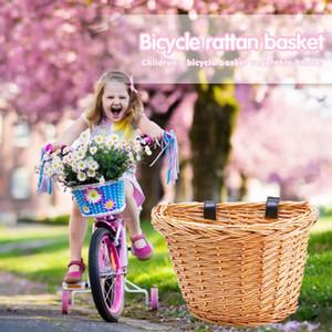 Çocuklar Bisiklet Sepet Çok fonksiyonlu Pratik Kullanışlı Hasır Dokuma Taşıyıcı Bisiklet Ön Çanta Pannier Depolama