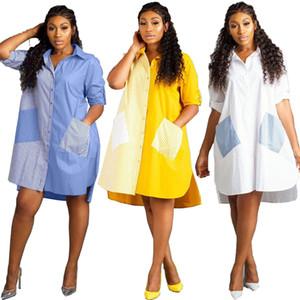 Hot Beliebte Alltag Einfach Frauen-T-Shirt-Kleid lose gestreifte Spliced Langarm Kleider Lieferanten in China