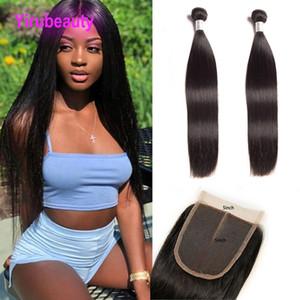 Cheveux indiens vierges bruts 2 paquets avec fermeture de lacet 5X5 paquets de cheveux humains de couleur naturelle droite avec 30-30 pouces de trame avec 5 * 5