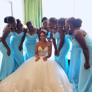 Простой Sky Blue Mermaid невесты платья 2019 Спагетти Поезд стреловидности Кнопка Сад Страна Пляж African Wedding Guest мантий Maid Of Honor