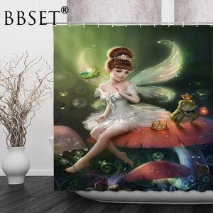 Fantasy Mushroom Shower Curtain Butterfly Elf Princess Pattern Waterproof Multi-size Cortina De Bano Bathroom Decor with Hooks