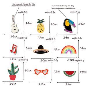 Cartoon Pride Rainbow Cactus Bird Brooches Badge Enamel Pins Guitar Pineapple Sunglasses Hat Lapel Pins Denim Pin Jewelry Gift