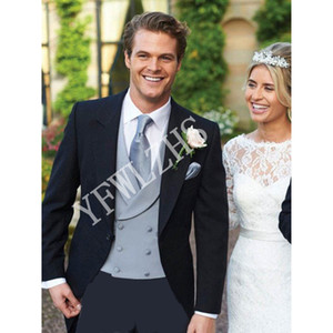 Handsome One Button Groomsmen Peak Lapel Groom Tuxedos Men Suits Wedding Prom Dinner Best Man Blazer(Jacket+Pants+Tie+Vest) W209
