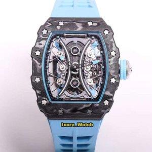 JB aumentó la versión RM 53-01 Pablo Mac Donough Relojes RM53-01 TPT fibra de carbono caso real Tourbillon mecánico del reloj para hombre de goma de diseño