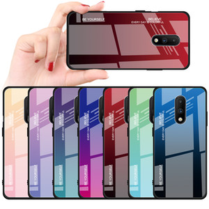 Degrade Telefon Kılıfı Için Temperli Cam Kapak OnePlus 7 7 Pro 6 T 6 Xiaomi Redmi K20 Redmi7 5 Artı Mi9 Mi8 OPPO
