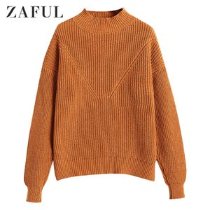 ZAFUL Solid Color Drop Shoulder Knitted Pullover Sweater Casual Cotton Sweater Round Collar Elastic Female Sweaters Daily Outfit