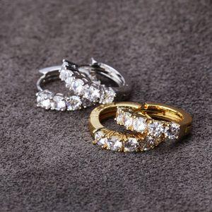 Pendientes de diamante simulado de plata para hombre de Hip Hop pendientes del aro de joyería de la alta calidad de la manera oro redondo de los hombres frescos de las mujeres par pendientes