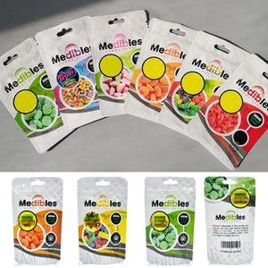 Resellable medibles Jalea de frutas bolsa de Mylar Galletas de embalaje bolsa vacía de la cremallera hermética a prueba de olor de la hierba seca Edibles paquete al por menor del papel de regalo