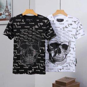 T-shirt in puro cotone con O colletto 2019, t-shirt con toppa in teschi di cristallo. Bianco e nero e dicromatico # 0588