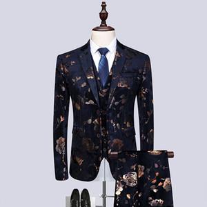 (Anzugjacke + Weste + Hose) 2019 neue Männer Fashion Boutique Business Casual Sakko Bräutigam-Hochzeit Kleid-formale Blazer
