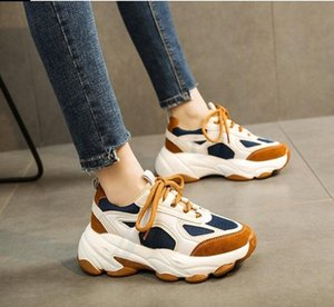 Women's thick soled sneakers mixed color lace up daddy shoes women's basketball running shoes casual