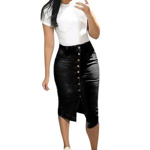 Jaycosin kısa etek kadın moda kot etek yeni varış moda çanta kalça seksi Düğme Tasarım Bölünmüş Ön Açık Etekler
