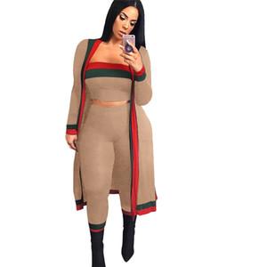 Mulheres Set Primavera Verão Outono vermelho e verde Strape costura Envolvido Peito calças justas 2 peças 3 peças Contigt Define S628-1