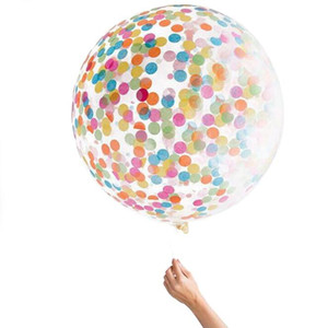 36 inch round transparent paper balloon large confetti latex balloon with Multicolor Confetti for Wedding or Party decorations