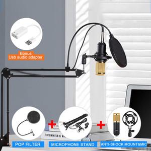 Profissional condensador áudio de 3,5 mm Wired BM800 microfone condensador Kit Estúdio de suspensão da lança Scissor Arm Sound Card KTV microfone de karaokê