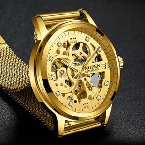 FNGEEN 2019 İzle Erkekler Otomatik İzle Altın Moda Prestige İş Su geçirmez Mekanik Nefis relogio reloj