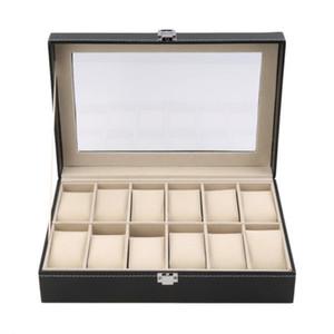 12 ranuras de la rejilla de la PU del cuero del reloj pantalla el cuadro de la caja de almacenaje del organizador Locked Ataúd exhibición del reloj con color Negro