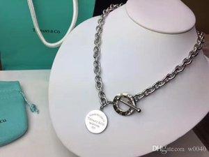 Marca diseños de joyería Collar redondo del círculo de la moneda colgante para las mujeres de lujo elegante pulsera de clavícula regalo de boda 3dTiffany