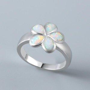 KELITCH mignon fleurs 925 Bague En Argent Blanc Opale de feu créé Opale De Mariage De Fiançailles Promise Ring Femmes Bijoux De Mode