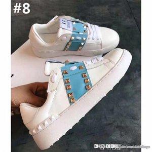 Die neuen Waren 2018 VALENTIN Männer Schuhe Weiß Lederspringgamaschen Sneaker mit blauem Band NY0S0830 BLU G62 Trainer-Turnschuhe mit Kasten