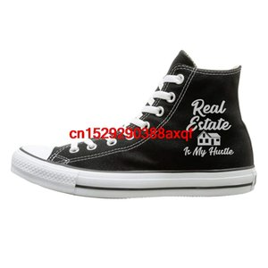 Canvas Shoes Real Estate Is My Hustle Fashion High Top Lace Ups Sport Sneakers For Men Women
