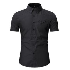 Erkek Casual Gömlek Günlük Erkekler Moda Kişilik Sonbahar Kargo İnce Düğme Kısa Kollu Katı Elbise 2021 Gömlek