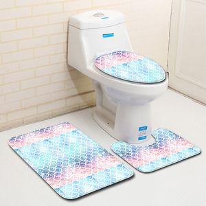 3pcs Anti-Rutsch-Fisch-Skala Badmatte Badezimmer Wohnkultur Closes Mat WC-Sitzabdeckungs-Mat Fall Teppich Set Fußmatten Dekor