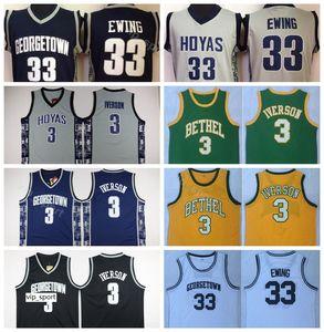 Bethel High School Allen Iverson Jersey 3 Georgetown Hoyas College Basketball Patrick Ewing Jersey 33 Team Color Navy Blue Gray White